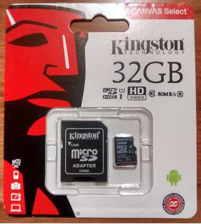 Kingston Micro Sdhc 32 Gb Canvas Select Clase 10 C/ Adaptado