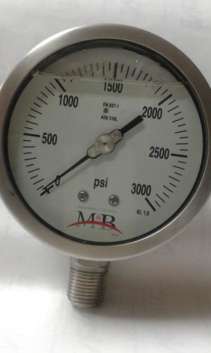 Manómetro Caja 4  De 316 Ss . 0-3000 Psi, Con Glicerina