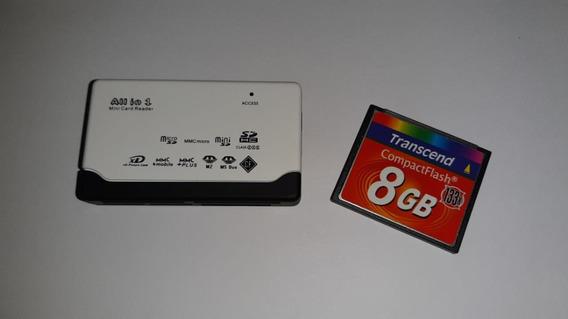 Cartão Memória Compact Flash 8gb Transcend + Leitor Usb