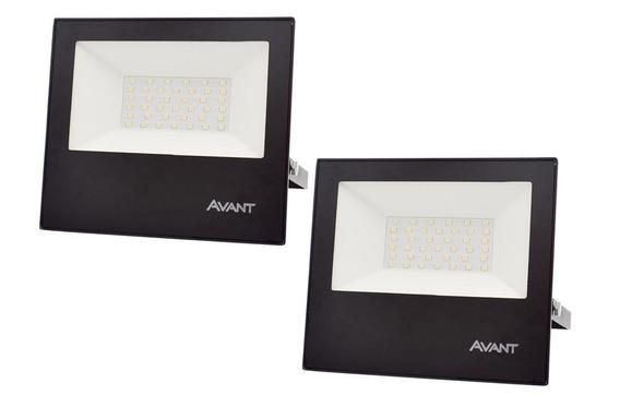 Kit 2 Refletor Led Holofote 50w Resistente Água Branco Frio