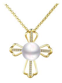 Colar Feminino Banhado Ouro 18k + Lindo Crucifixo Com Pérola