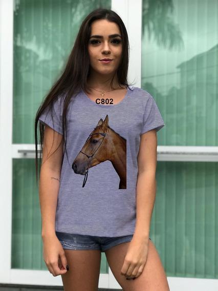 Blusa Feminina Cinza Body Look Animal Cavalo Marrom