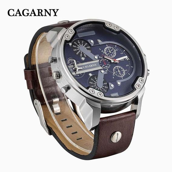 Relógio De Puso Original Cagarny Pulseira Couro -6820