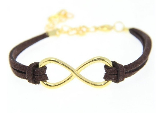 Pulseira Bracelete Couro Infinito Dourado Feminino Mod.18