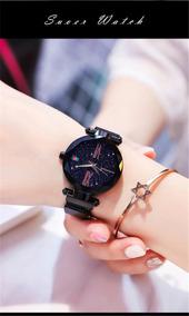 Relógio Magnético Feminino (céu Estrelado) Preto