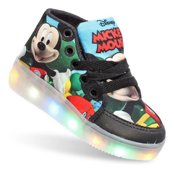 Tênis Botinha Mickey Com Luz Led Infantil Masculino Meninos