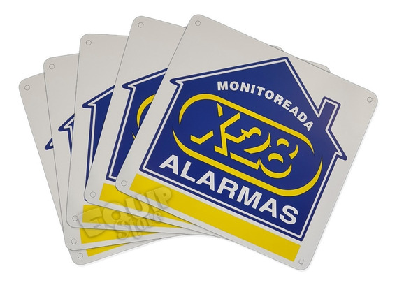 Combo 5 Cartel Disuasivo Propiedad Monitoreada Alarma X-28