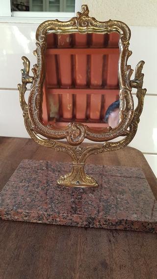 Grande Espelho Toucador Em Bronze E Base Em Mármore