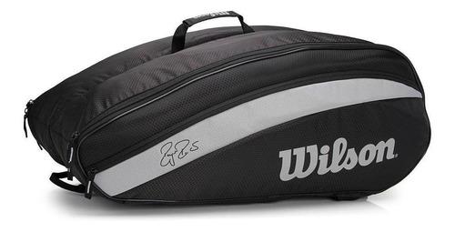 Raqueteira De Tênis Wilson Roger Federer Team 12 Pack Preto