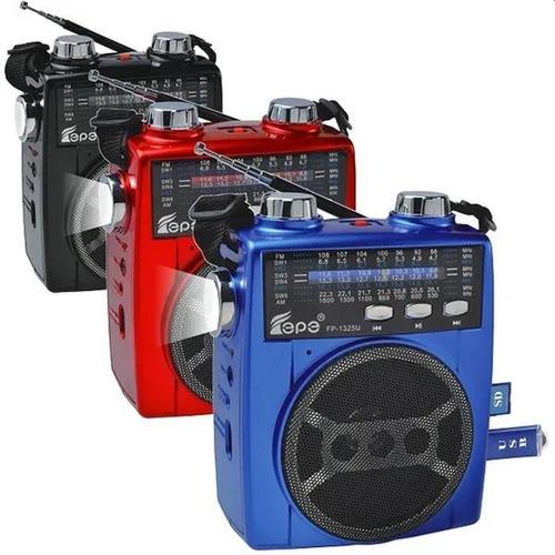 Imagen 1 de 8 de Radio Portatil Recargable Fm Am Usb Sd Mp3 Linterna Antena
