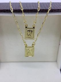 Escapulario Folheado Ouro 18k N.s.do Carmo - S.coração Jesus