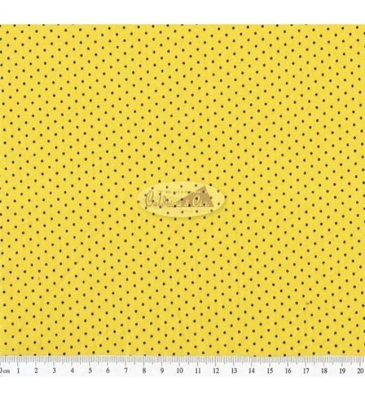 Tecido Estampado Poá Cor - 50 (amarelo Com Marrom)