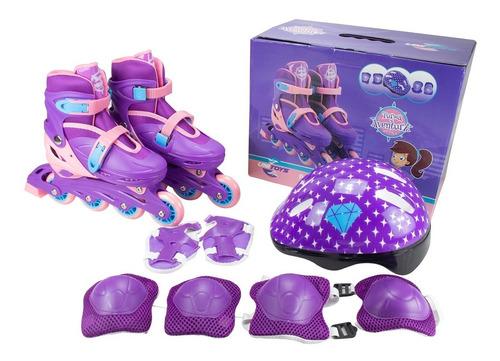 Kit Patins Completo Roller In Line Infantil Menina - Oferta
