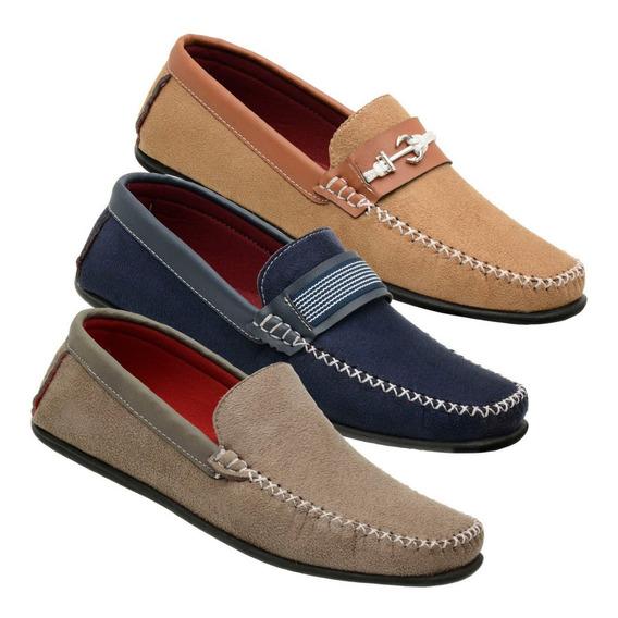 3 Pares Sapatos Mocassim Masculino Kit 73 / Frete Grátis