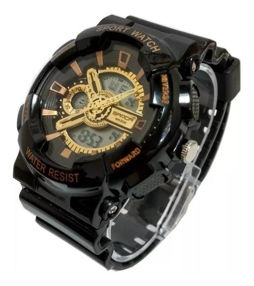Relógio Masculino Dourado Pulso Led Digital Esportivo Branco