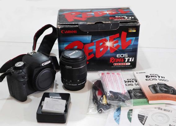 Câmera Eos T1i + Lente Orig. 18-55mm + Carregador + Manuais