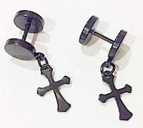 Kit Com 2 Falso Alargador Cruz Preto Antialérgico 8mm