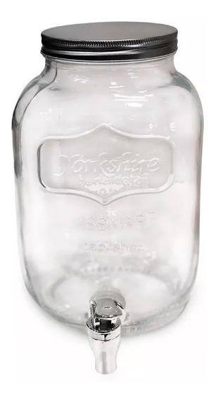 Frasco Dispenser Vidrio Con Canilla 4 Litros Jugos Bebidas