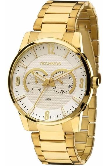 Relógio Technos Masculino Dourado Wr 50 Metros 6p25an/4k