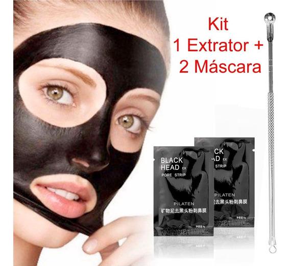 Kit 1 Extrator + 2 Máscara Preta Removedora Cravos Blackhead
