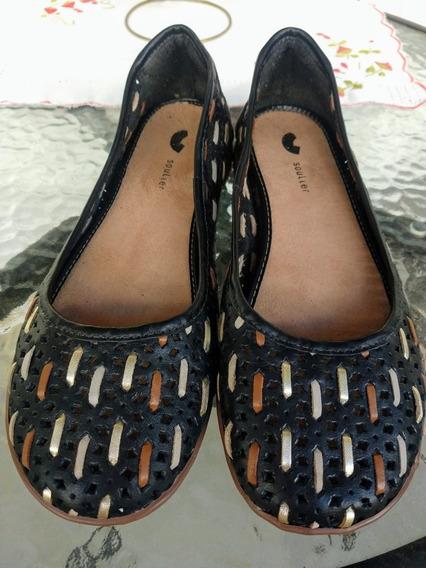 Sapato Couro Soulier Preto Vazado