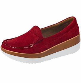 Zapato Gamuza Cherry Mujer Altura 5 Cm Cómodos Casual 825130