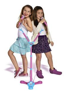 Microfono Doble Frozen Dual Star De Pie Luz Ditoys Original