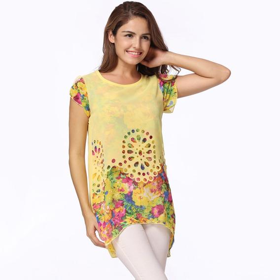 Novo Moda Mulheres Tecido De Seda Blusa Floral Impressão Oc