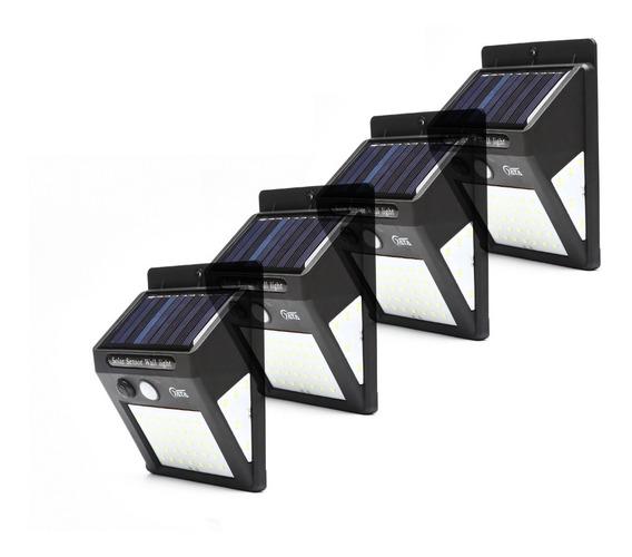 4x Luminária Solar Parede 50led Sensor Presença 2 Funções10w