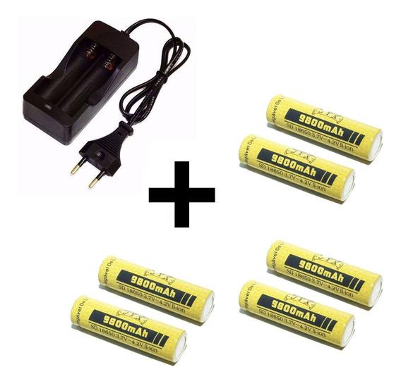 Carregador Duplo + 6 Baterias 18650 P Lanterna Swat Jws Bing