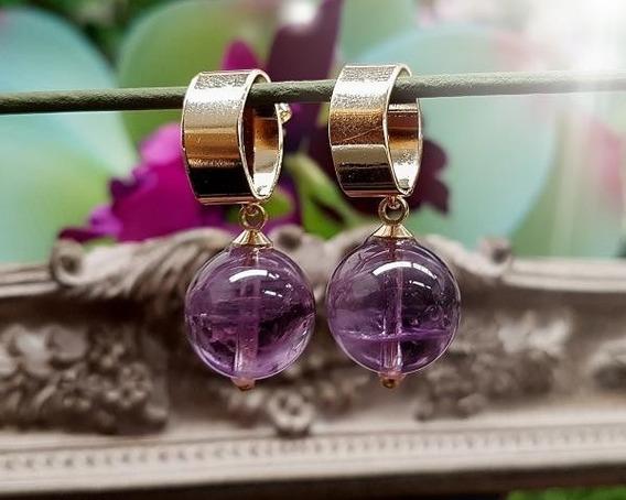 Brincos De Ametista (pedra Cristal De Proteção Espiritual)