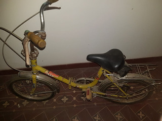 Bicicleta Rodado 16 Super Reforzada Plegable Amarila