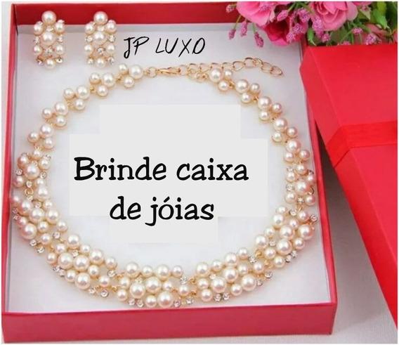 Conjunto Pérola Colar Brinco Noivas 15 Anos Madrinha Dourado
