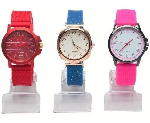 Kit 5 Relógio Feminino Silicone Barato Lote Borracha Atacado P/ Revenda Top Modelos Novos Re-01