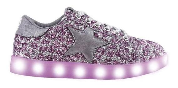 Zapatillas Footy Luz Led Usb Estrella Glitter Fty Calzados