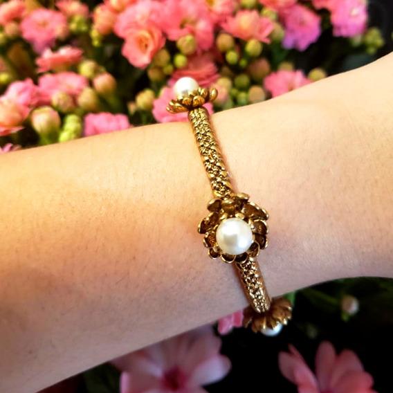 Pulseira Bracelete Flor Pérola Ouro Vintage Festa Casamento