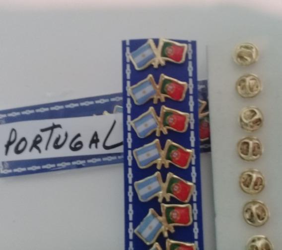 Bandera Portugal 21 X 14 Cms Con Pins De 2 Cms