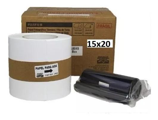 Kit Papel + Ribbon 15x20 Para Impressora Fuji Ask 300 200 Fotos
