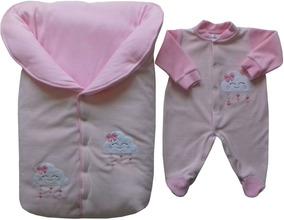 Saída Maternidade Saco 2 Tons De Rosa Suave Nuvem + Corações