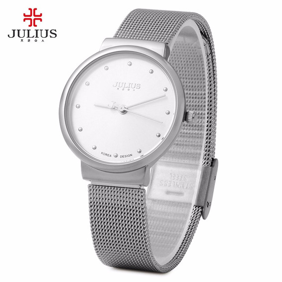 Relógio De Pulso Feminino Julius Em Aço Inoxidável