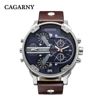 Relógio Masculino Cagarny Quartz Pulseira Couro Silver+brown