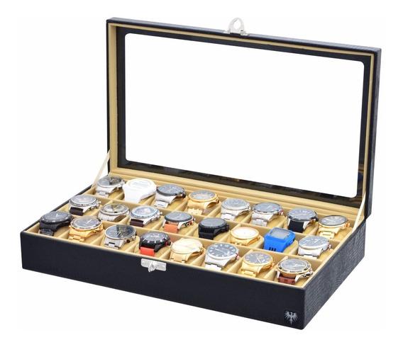 Caixa Porta 24 Relógios Estojo Organizador Expositor Couro