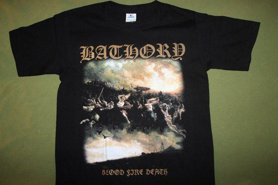 Gusanobass Playera Metal Rock Bathory Blood Fire Black Death