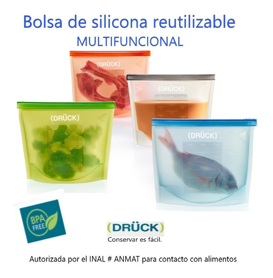 Bolsa De Silicona Reutilizable 3 U De 1 1/2 + 1u. De 1 Litro