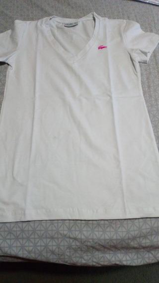 Remera Lacoste De Mujer Algodón Esctote V Nueva Blanca