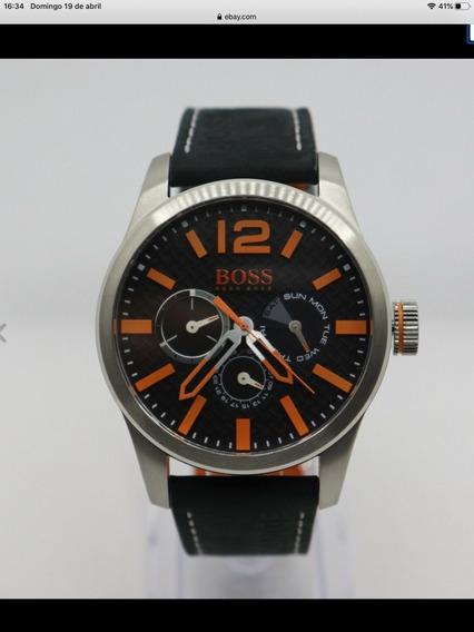Lindo Relógio Hugo Boss - Couro Modelo 1513228 - 47 Mm