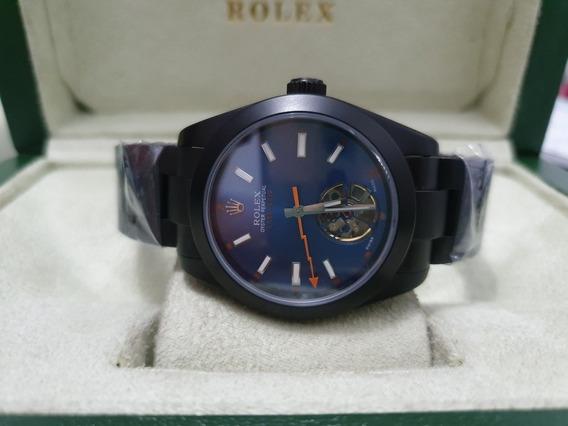 Relógio Mod Milgauss Labelnoir Fundo Azul Tourbillon 40mm