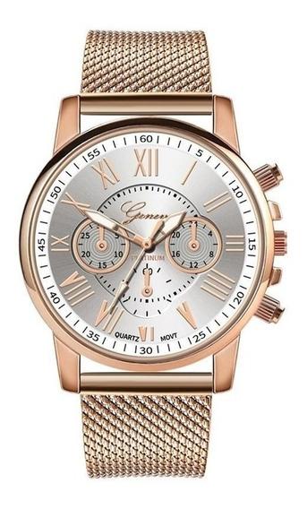 Relógio Feminino Quartz Pulseira Aço Inox Geneva Oferta