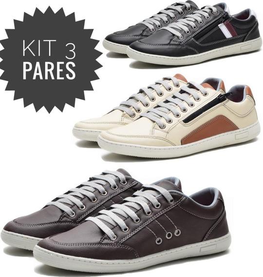 3 Tênis Casual Sapato Sapatênis Com Zíper Lançamento