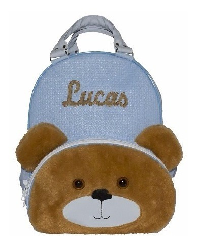 Mochila Infantil Personalizada Menino Ursinho Azul Bebe